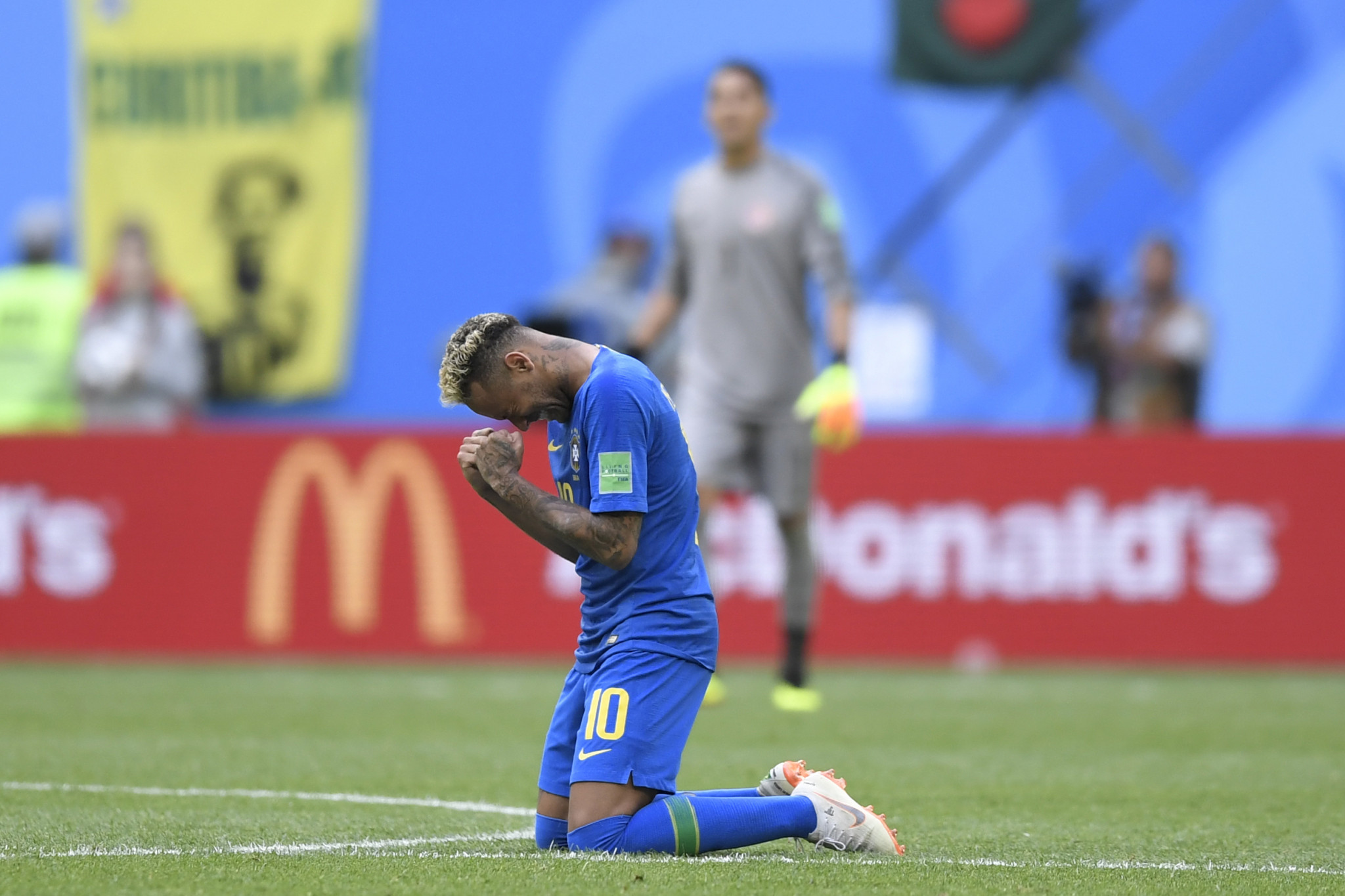 Neymar was in tears of joy after Brazil survived a scare to beat Costa Rica at the 2018 FIFA World Cup in Russia today ©Getty Images