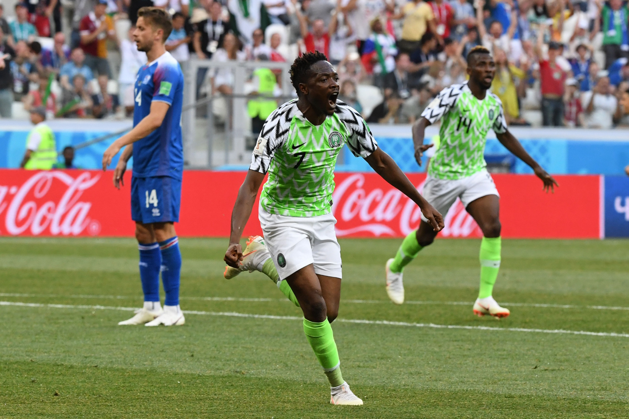 Ahmed Musa scored both goals in Nigeria's 2-0 win over Iceland in Group D ©Getty Images