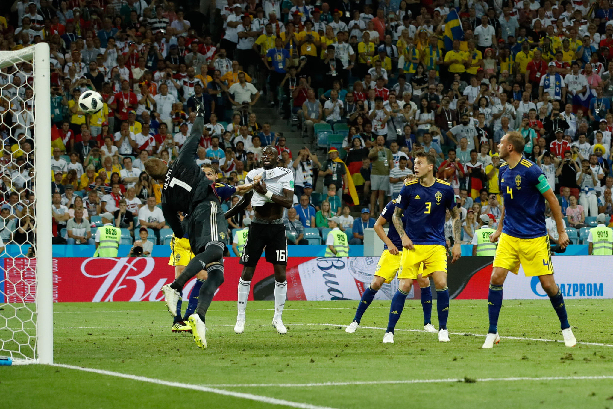 A late Toni Kroos free kick gave defending champions Germany a crucial win over Sweden ©Getty Images
