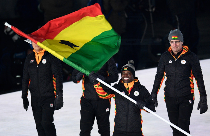Ghana's first Winter Olympian, Akwasi Frimpong, carries the national flag at the Opening Ceremony of Pyeongchang 2018 before his skeleton competition ©Getty Images