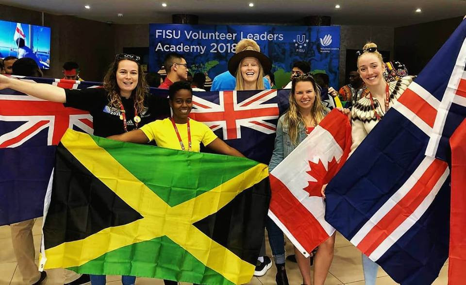 Hrafnhildur Lúthersdóttir, right, pictured with other participants at the FISU Volunteer Leaders Academy in Kazan last week ©Facebook
