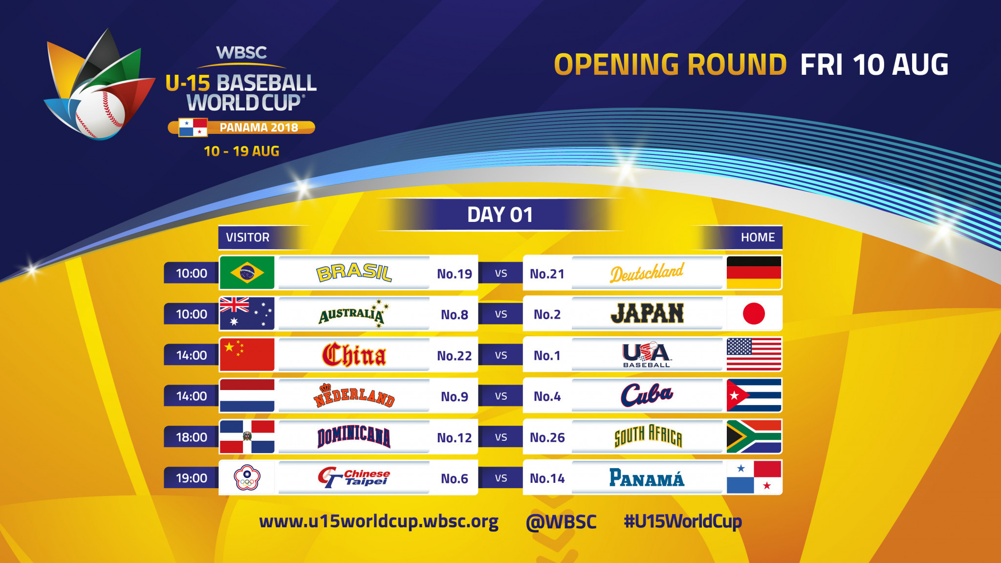 Game schedule announced for WBSC Under-15 Baseball World Cup in Panama