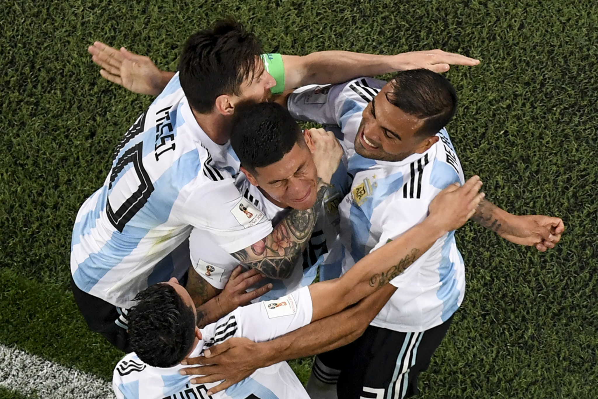 Marcos Rojo scored the crucial goal for Argentina to beat Nigeria 2-1 ©Getty Images