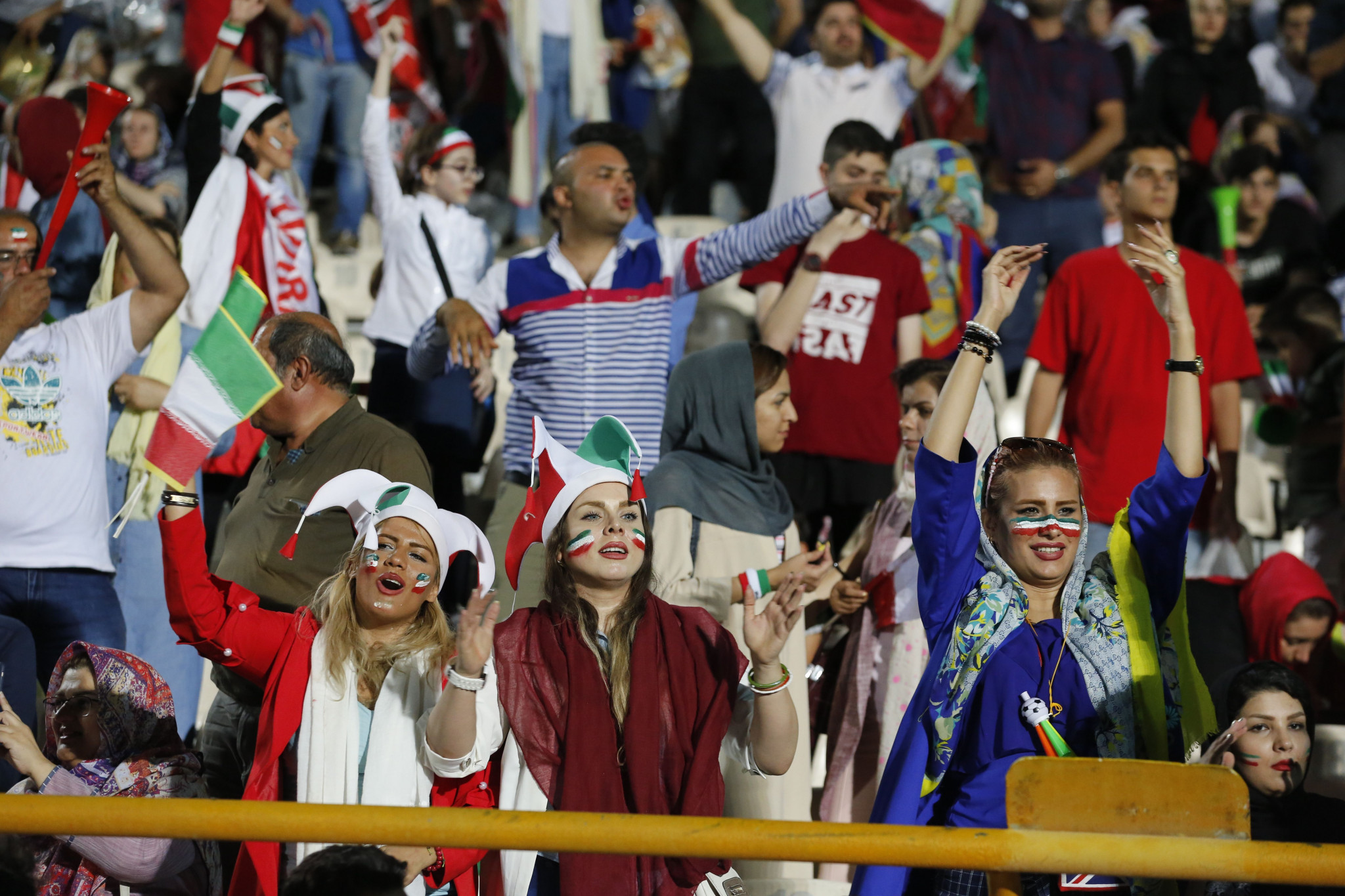 There are growing calls for the ban on women attending men's football in Iran to be lifted, after women were allowed to attend screenings of the FIFA World Cup in Tehran's Azadi Stadium ©Getty Images