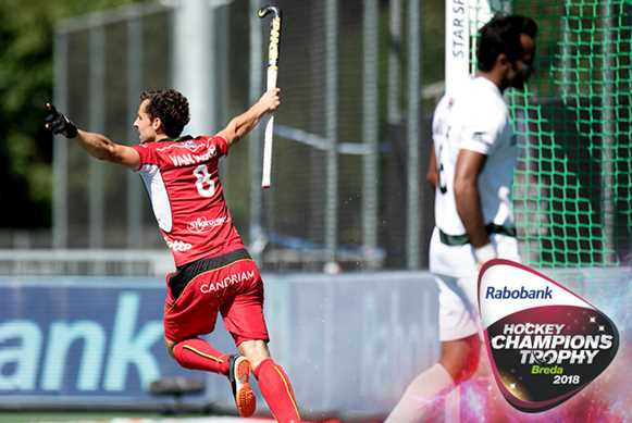 Belgium have beaten Pakistan today at the Rabobank Hockey Champions Trophy 2018  in Breda to keep their hopes of a medal alive ©FIH