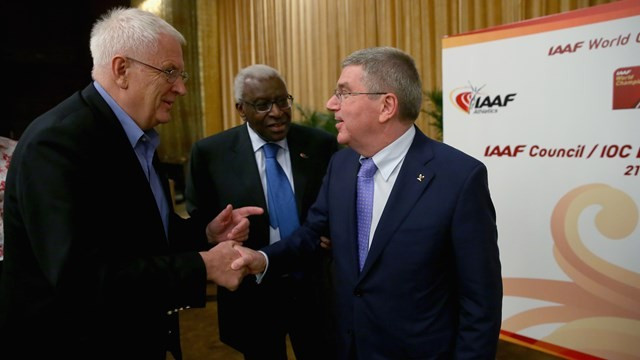 IOC President Thomas Bach (right) has accepted an invitation to speak at the next European Athletics Convention by the federation's President Svein Arne Hansen (left) ©Getty Images