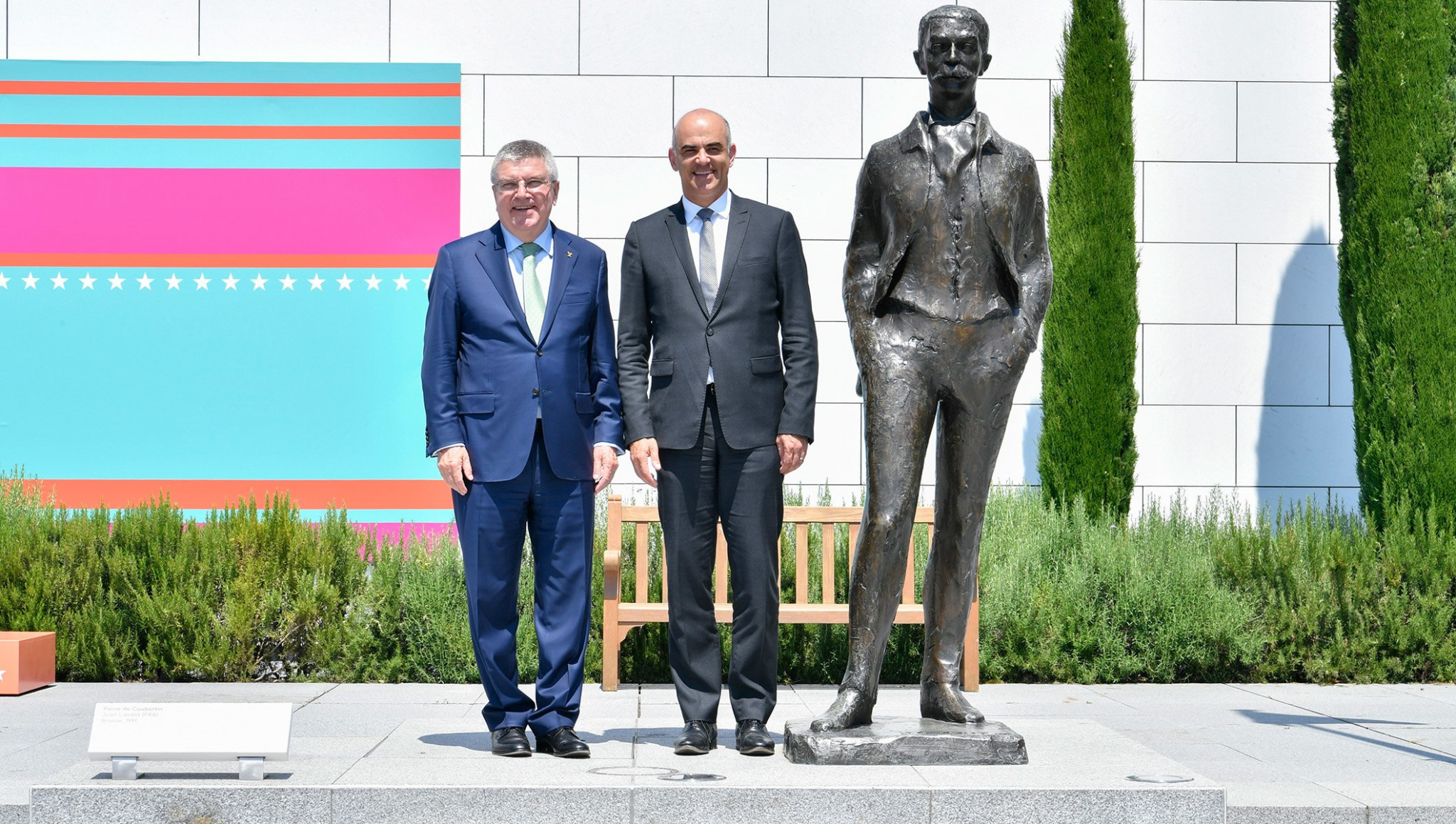 International Olympic Committee President Thomas Bach has welcomed Swiss Confederation counterpart Alain Berset to the Olympic Museum in Lausanne as a guest of honour ©IOC