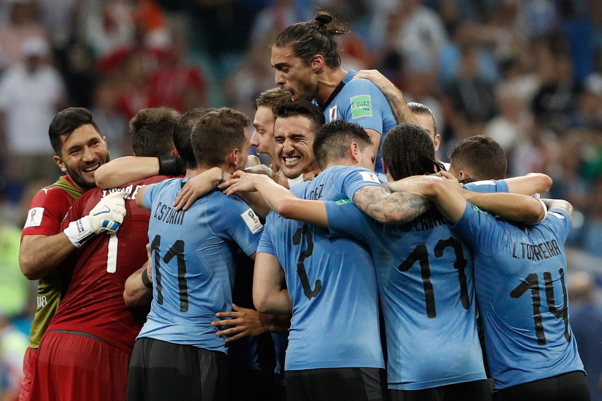 Uruguay players celebrate after beating Portugal ©Getty Images