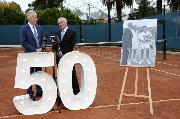 Ken Rosewall, right, reflects upon his victory at the 1968 French Open in the first Grand Slam of an open era - but the first open event had occurred at the British Hard Court Championships in Bournemouth ©Getty Images