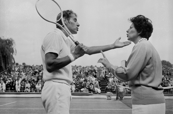 Pancho Gonzalez of the United States, pictured disputing a line call with the match referee at the Queen's Tournament in 1972, returned to mainstream tennis in the open era in 1968 having spent almost 20 years as a professional ©Getty Images