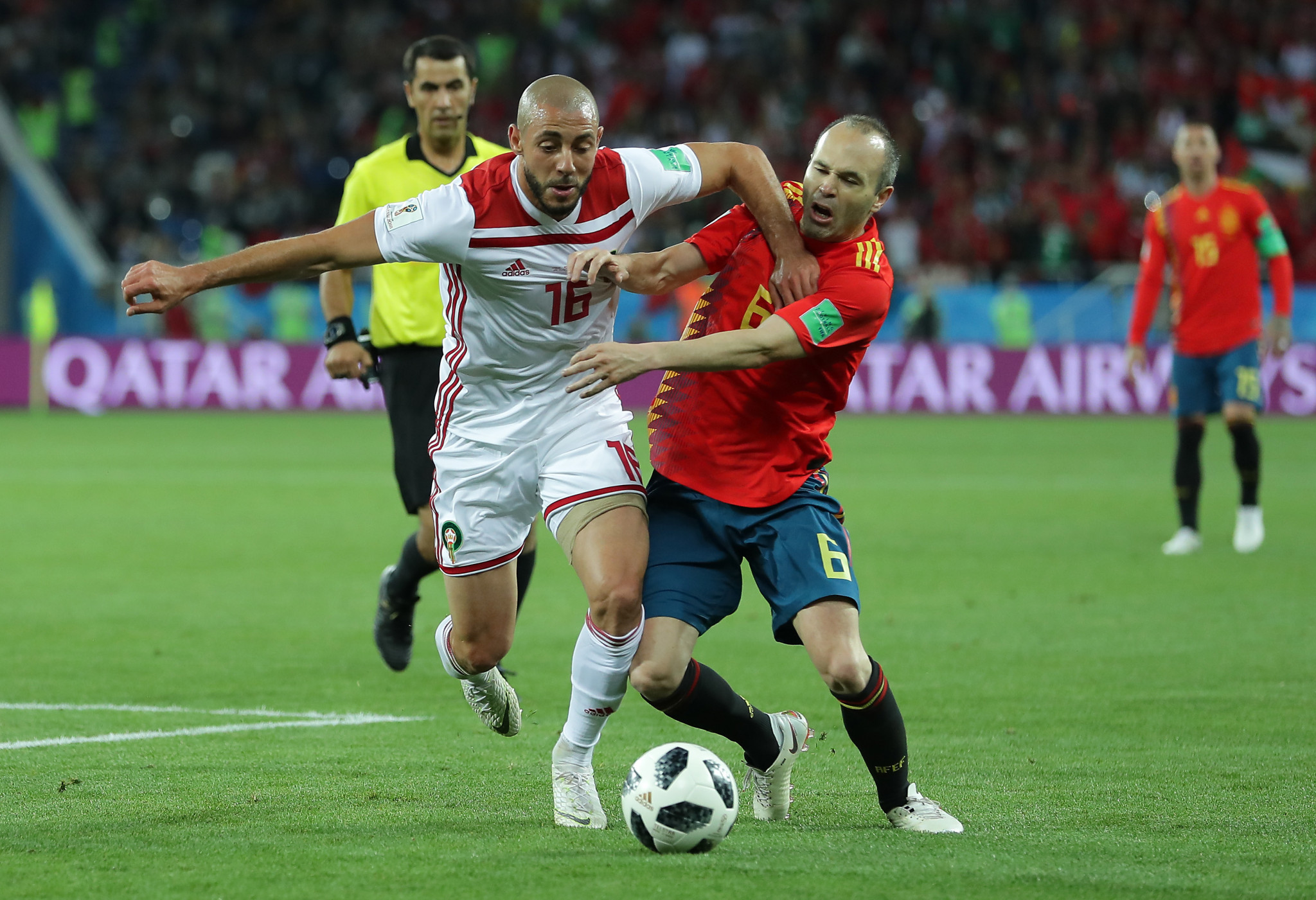 Moroccan player Nordin Amrabat was warned after he was caught mouthing an obscenity about VAR ©Getty Images