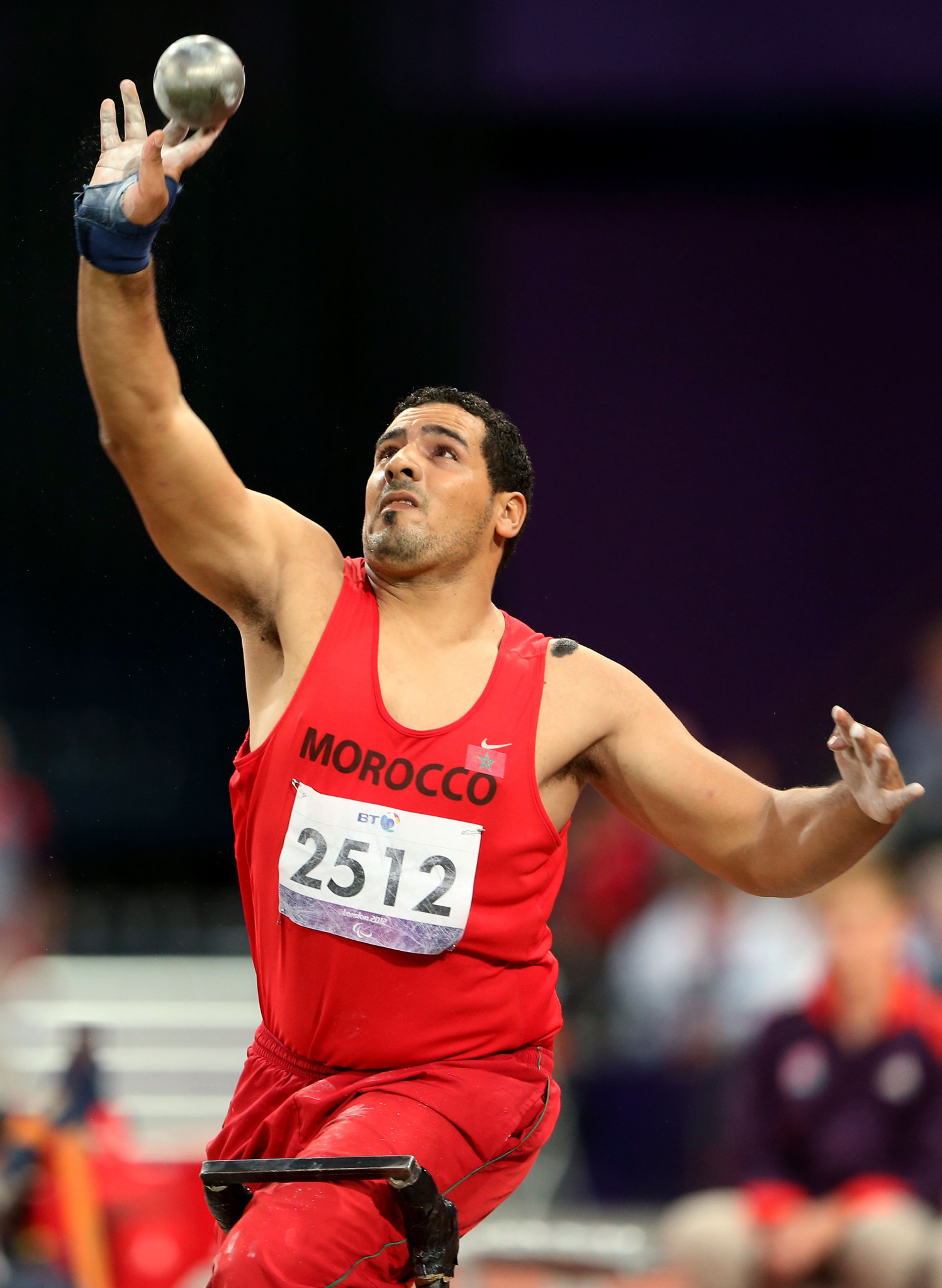 Azeddine Nouiri, pictured competing in the shot put at London 2012, won the javelin today ©Getty Images