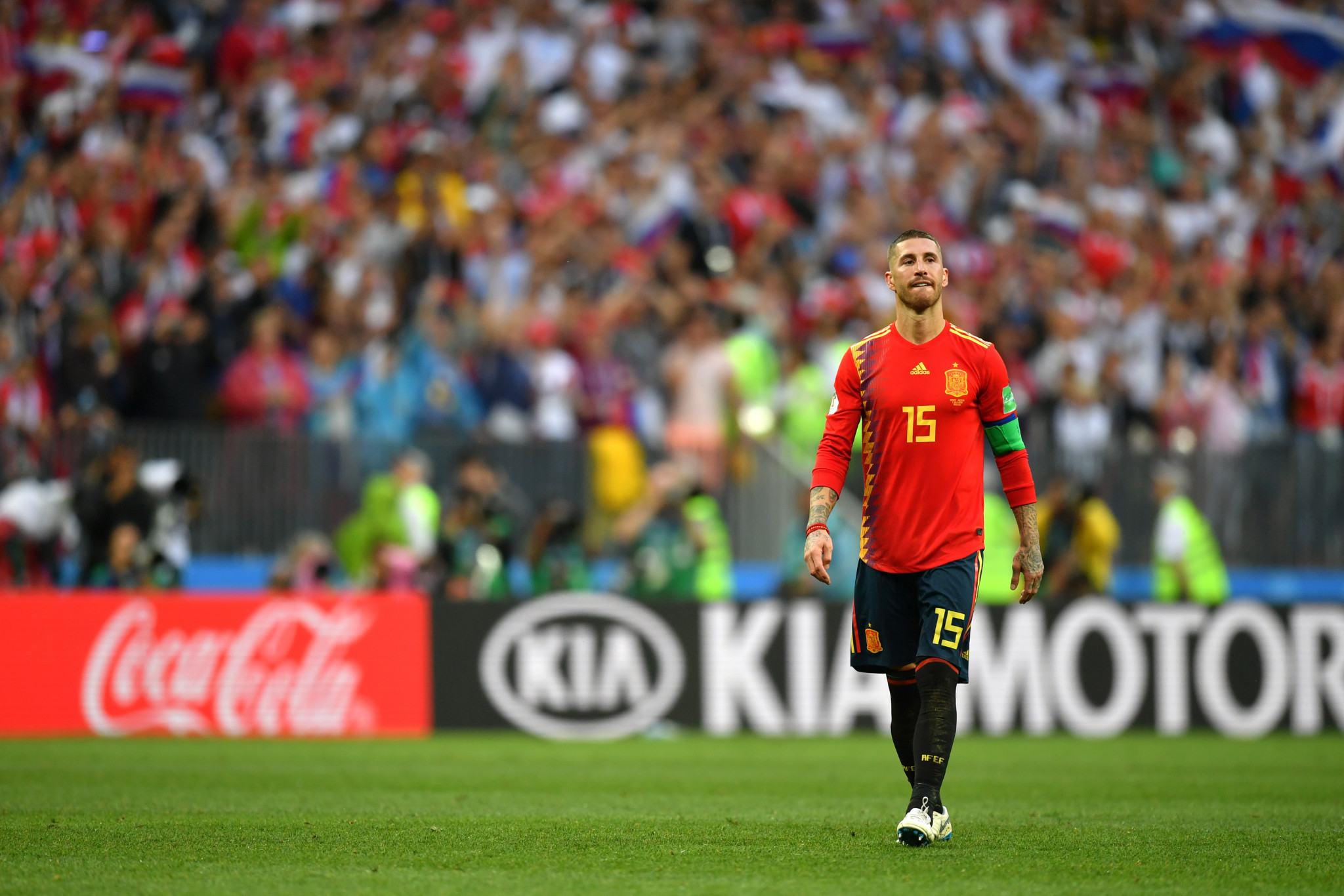 Sergio Ramos of Spain looks dejected after the Spanish defeat ©Getty Images