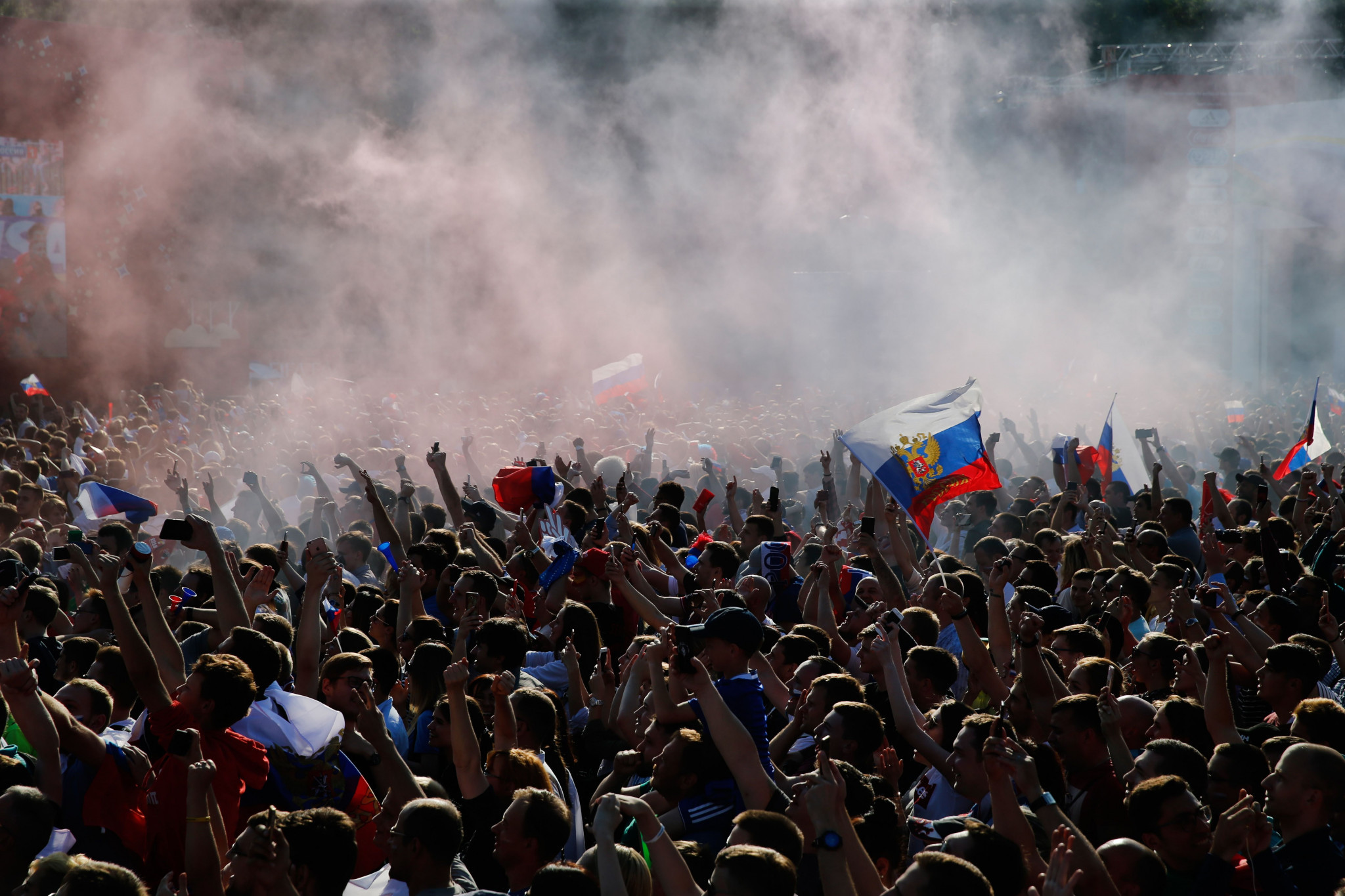 Russia fans celebrate Artem Dzyuba's goal at the Fan Site in Moscow ©Getty Images