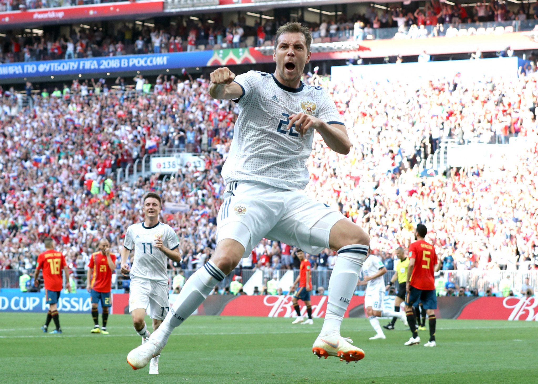 Artem Dzyuba celebrates scoring for Russia against Spain ©Getty Images