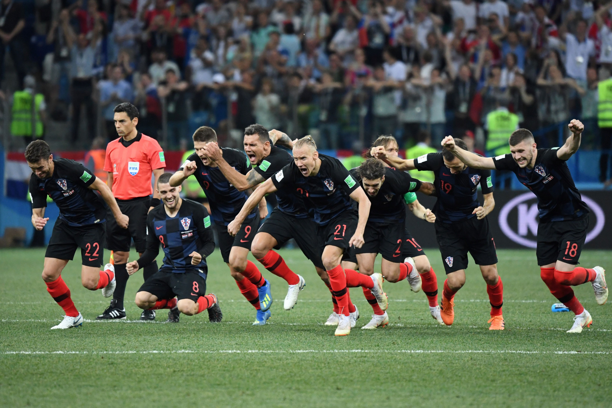 Croatia celebrate after the winning penalty ©Getty Images