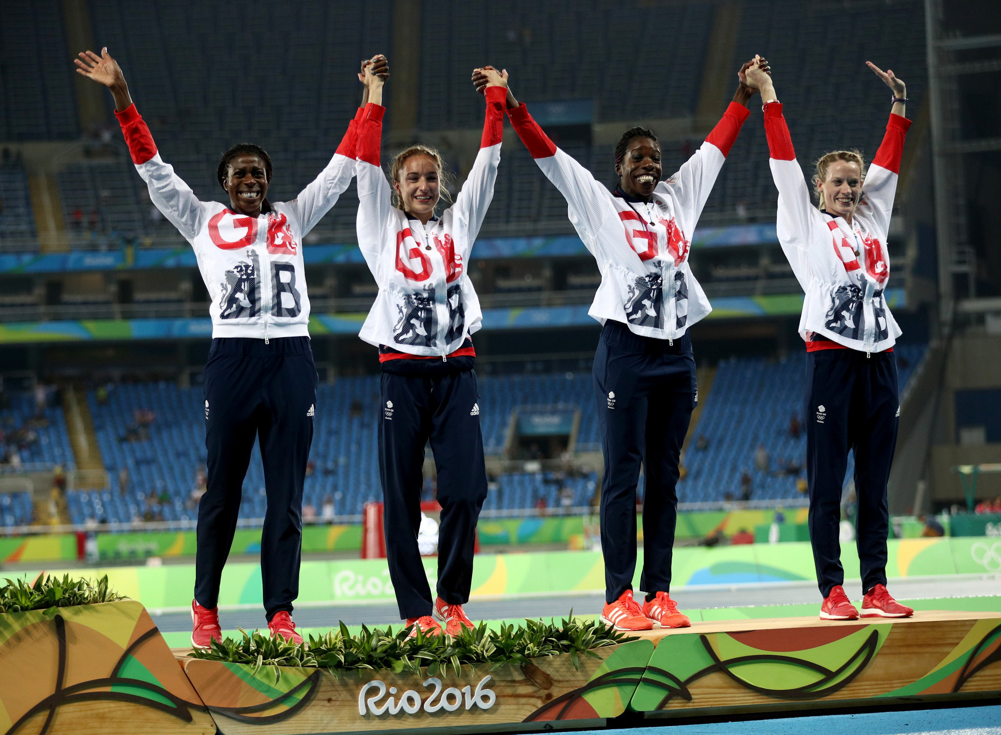Christine Ohuruogu's last major championship medal came at the Rio 2016 Olympics when she won bronze in the 4x400m relay alongside, from left to right, Emily Diamond, Anyika Onoura and Elidh Doyle ©Getty Images