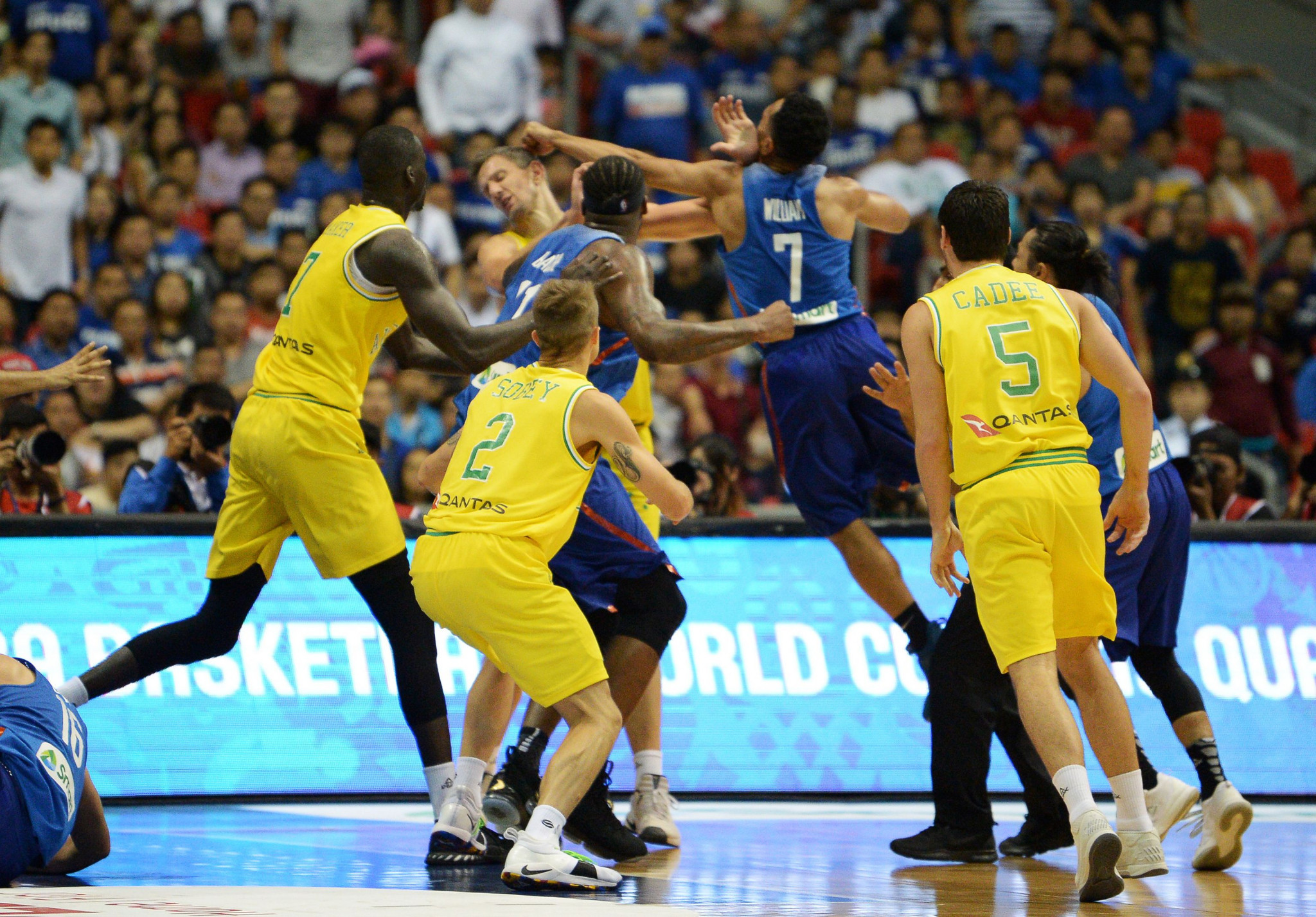 FIBA World Cup qualifier ends in disgrace as Philippines and Australia players brawl on court