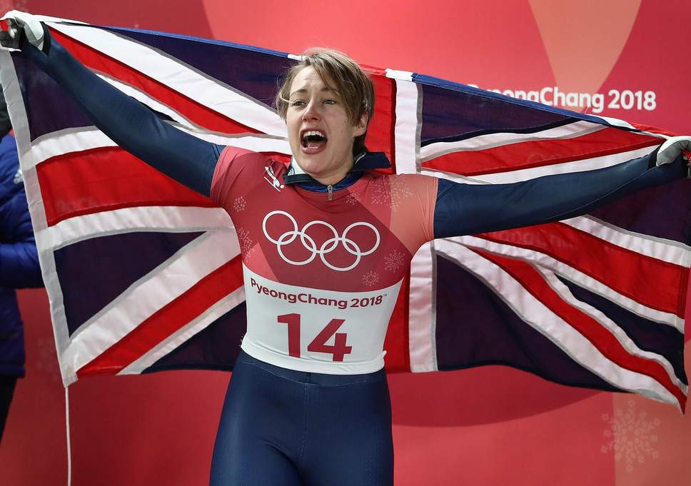 Lizzy Yarnold celebrates retaining her Olympic skeleton title at Pyeongchang 2018 - one of three medals won in the sport by Team GB leading to a £700,000 increase in funding for Beijing 2022 ©Getty Images