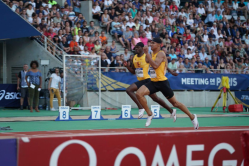 MIchael Norman and Rai Benjamin, wearing their USC vests, come home first and second in the IAAF Paris Diamond League 200m in their debut appearance in the competition. Better get used to this sight...©Twitter