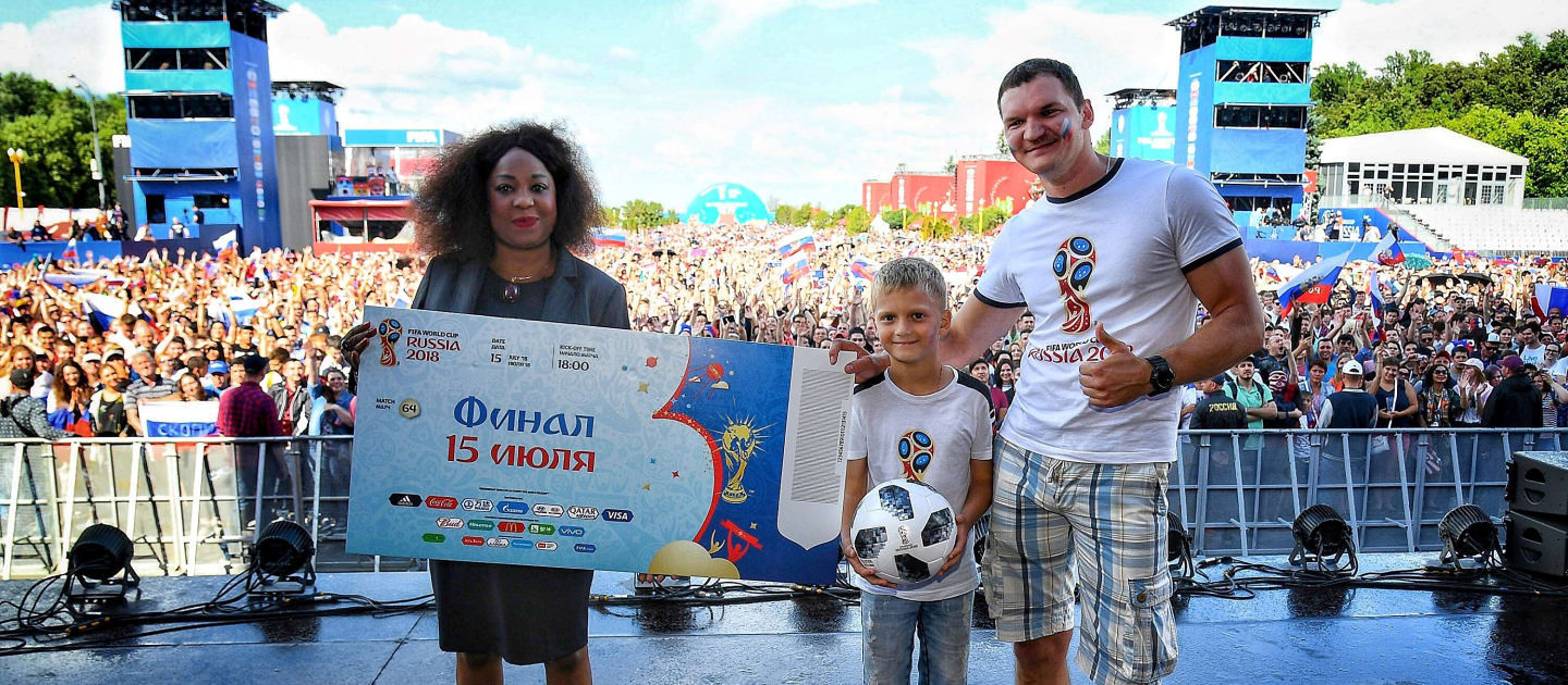 FIFA rewarded two supporters at the World Cup fan park in Moscow with tickets to the final ©FIFA