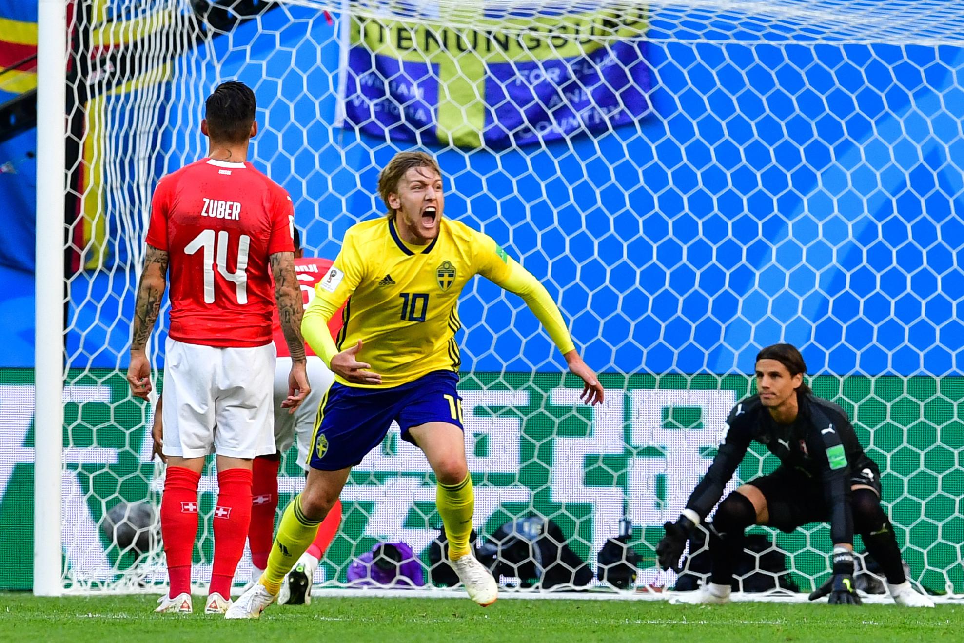 Emil Forsberg's deflected effort handed Sweden victory over Switzerland ©Getty Images