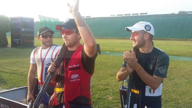 Olympic champion Vincent Hancock secured his second skeet world title with victory today ©ISSF/Twitter
