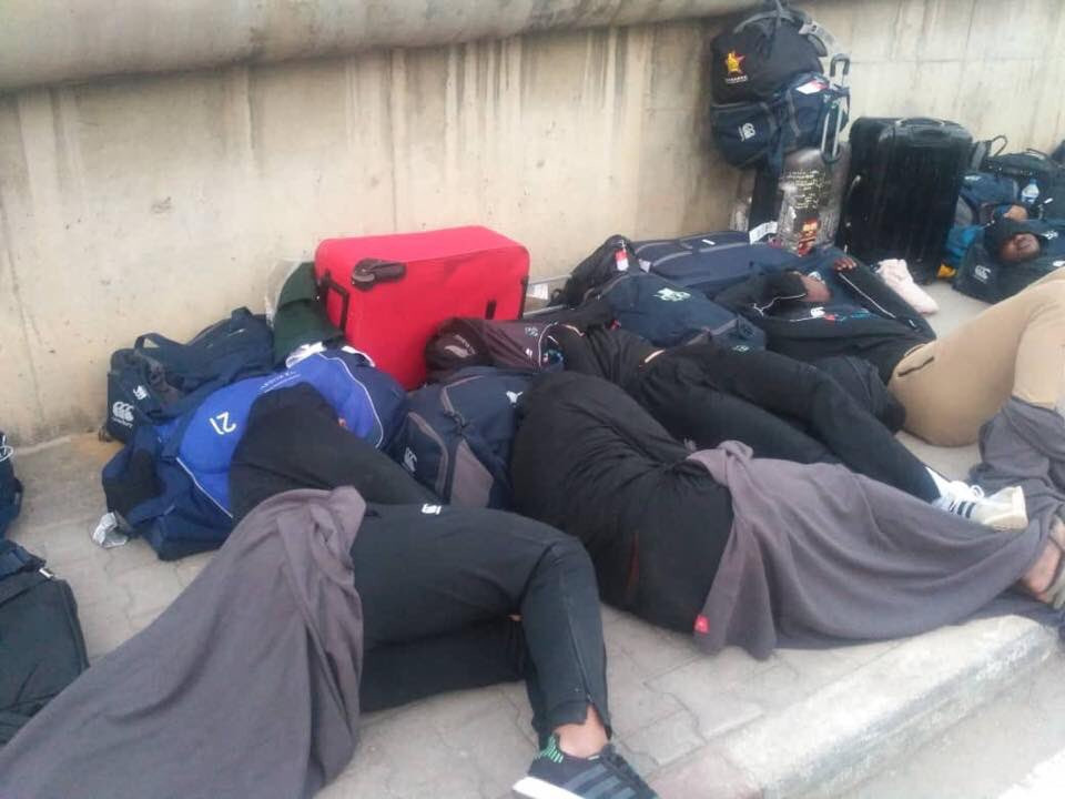 An apology has been issued after the Zimbabwe rugby team slept on the street in Tunisia ©Twitter