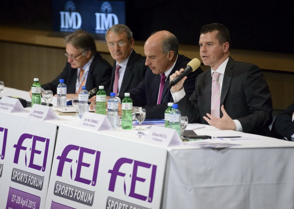 IOC sports director Kit McConnell (far right) pictured with the chairmen of the FEI Olympic disciplines, Frank Kemperman of dressage, Giuseppe Della Chiesa of eventing and John Madden of jumping