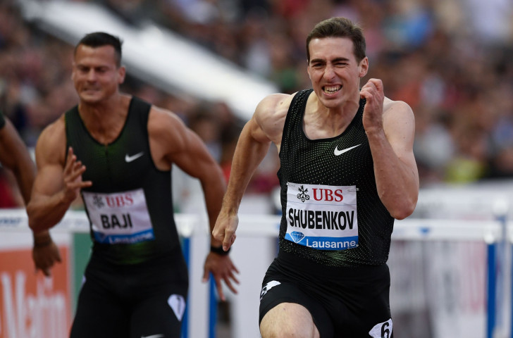 Russian athlete Sergey Shubenkov, competing as an Authorised Neutral Athlete at the IAAF Diamond League meeting in Lausanne, wins the 110m hurdles in 12.95sec ©Getty Images