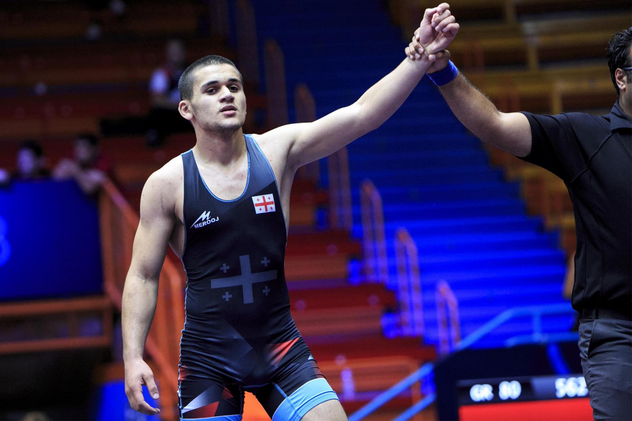 Giorgi Tsopurashvili of Georgia reached thye final of the men's under-65kg Greco-Roman event ©UWW