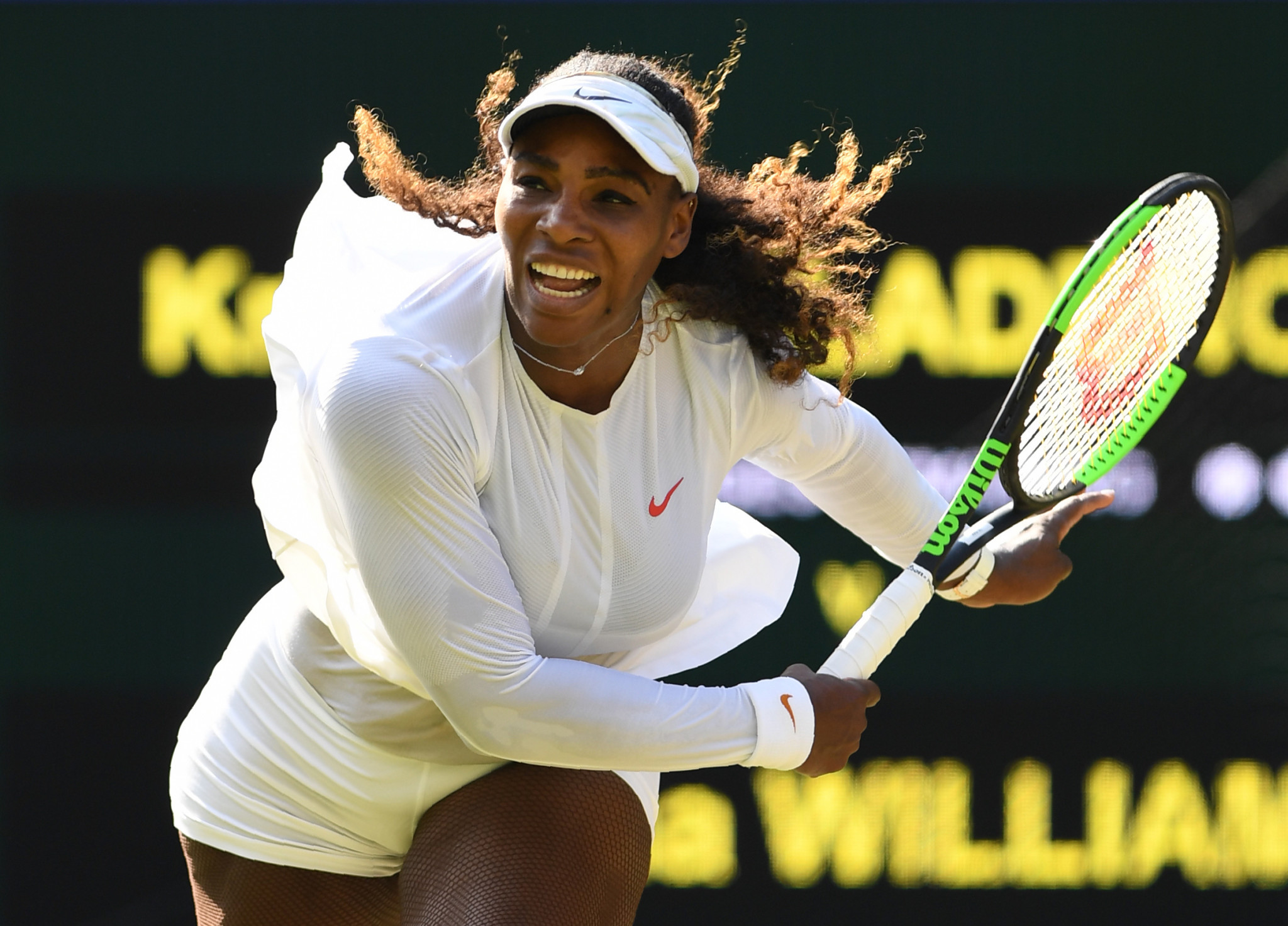 Serena Williams beat France's Kristina Mladenovic to maintain her pursuit of an eighth Wimbledon singles crown ©Getty Images