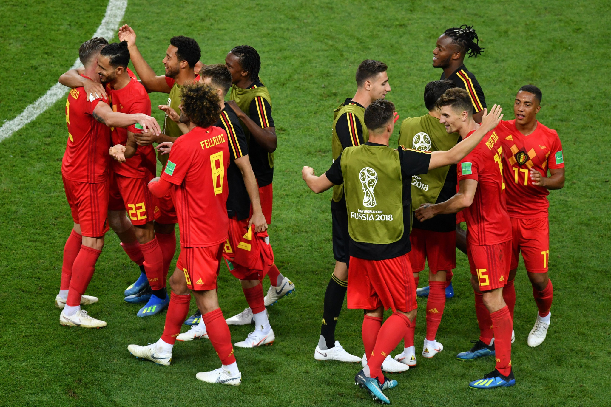 Belgium celebrate after beating Brazil ©Getty Images