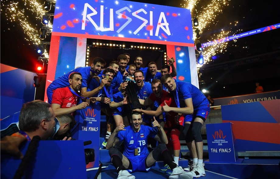 Players entrances and the trophy presentation took place underneath where the DJ booth was situated ©FIVB