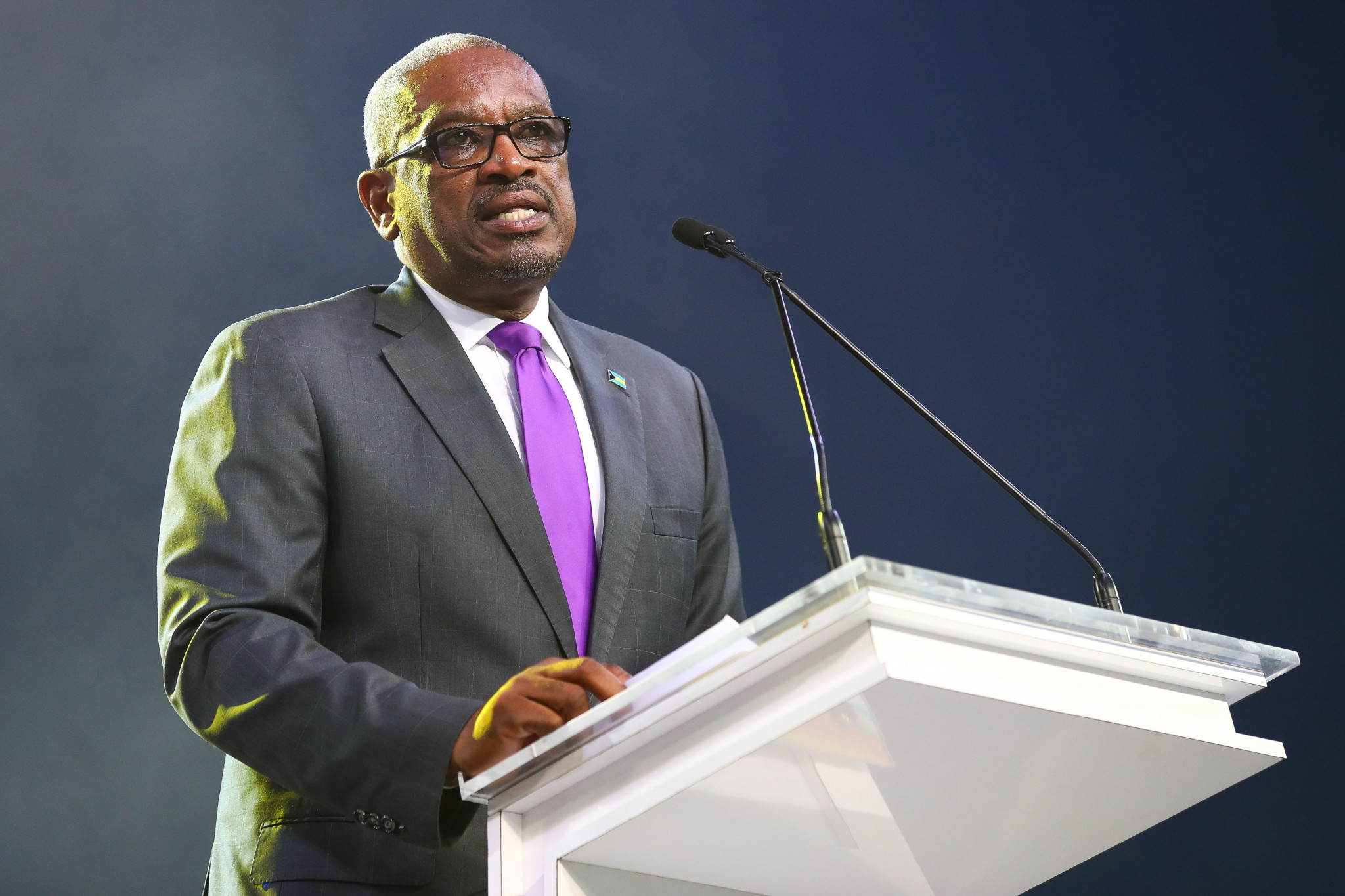 Bahamas Prime Minister Hubert Minnis pictured attending last year's Commonwealth Youth Games in the country ©Getty Images