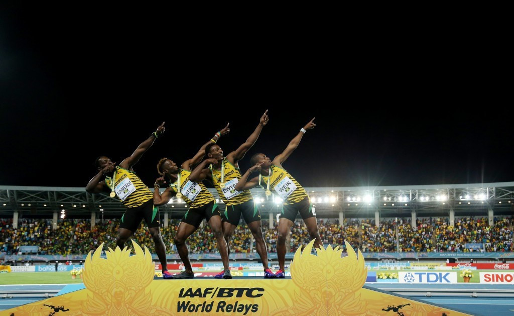 Jamaica celebrating a World Relays success in 2015 ©Getty Images