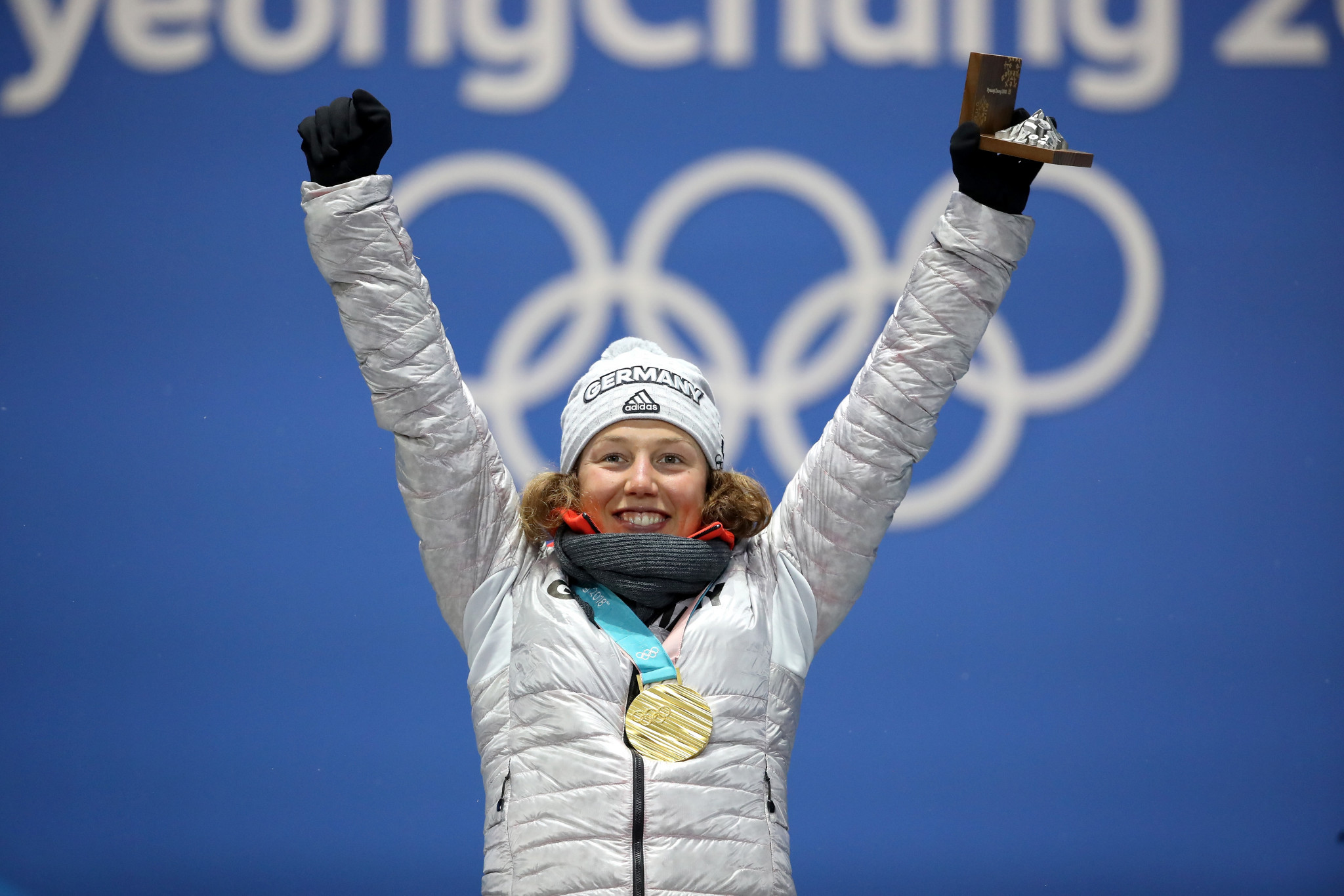 Laura Dahlmeier celebrates her Olympic gold medal in the pursuit at Pyeongchang 2018 ©Getty Images