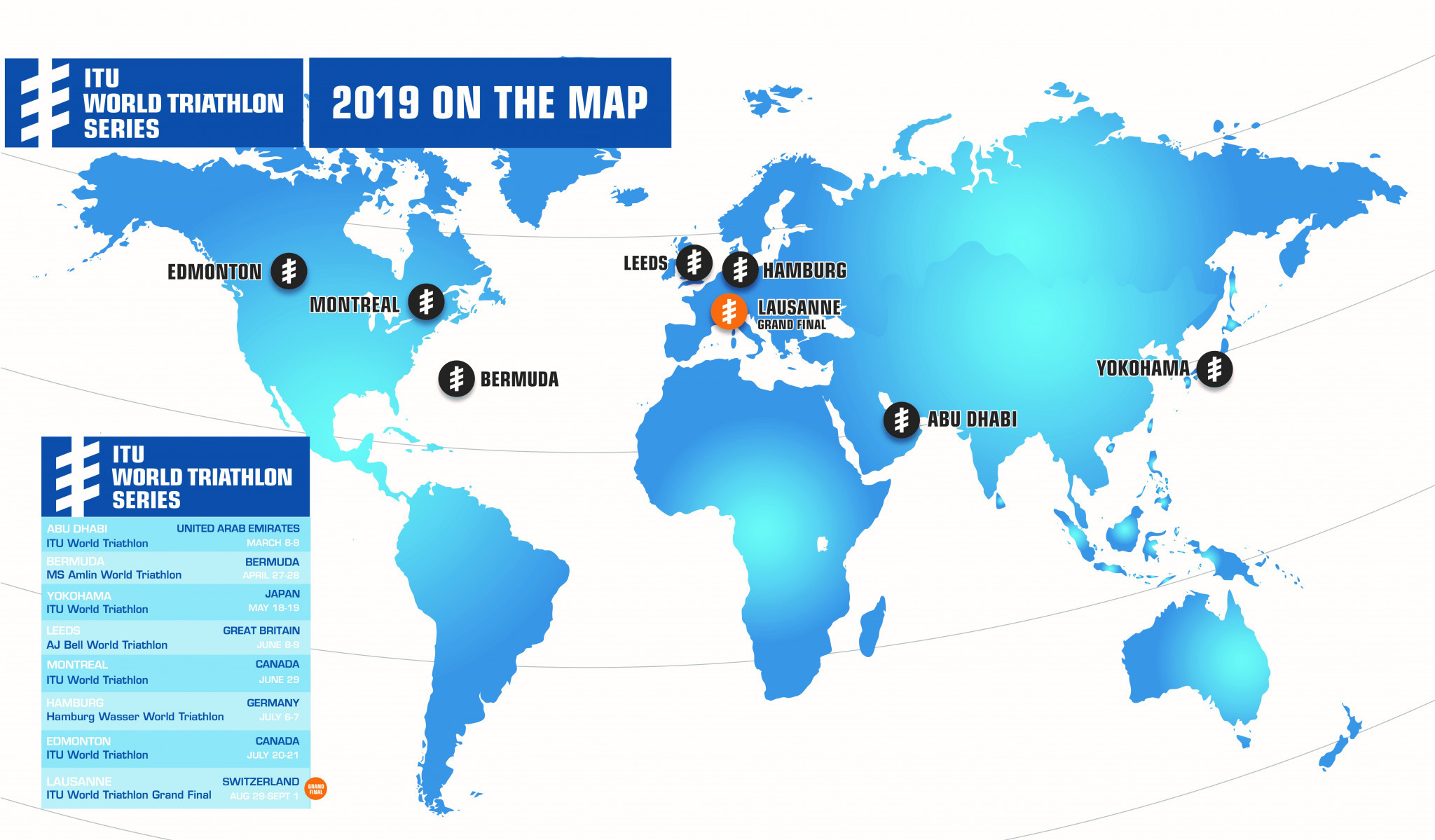 ITU announces calendar for 2019 World Triathlon Series