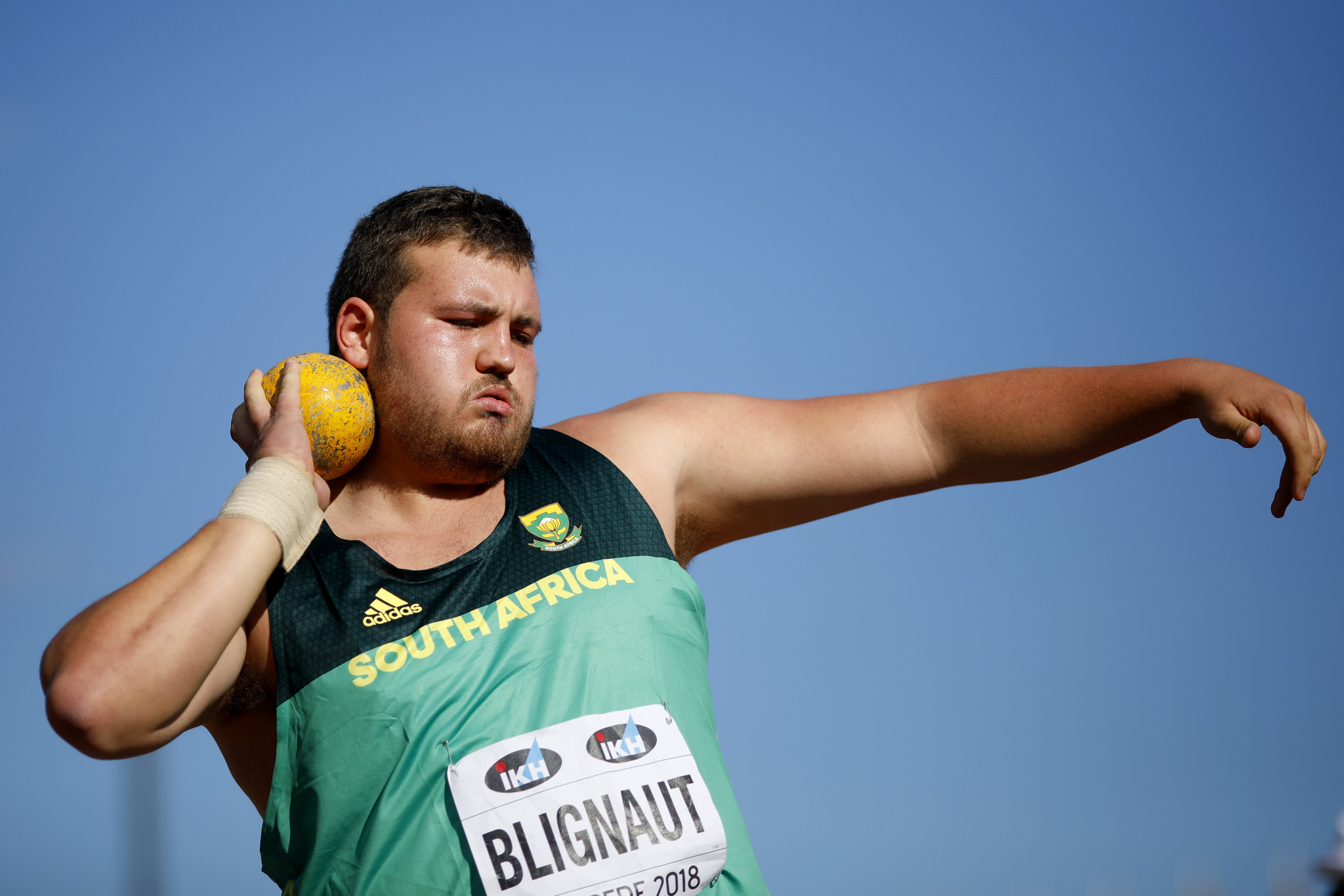 Kyle Blignaut of South Africa won the men's shot put on day one of the  IAAF World Under-20 Championships ©Getty Images