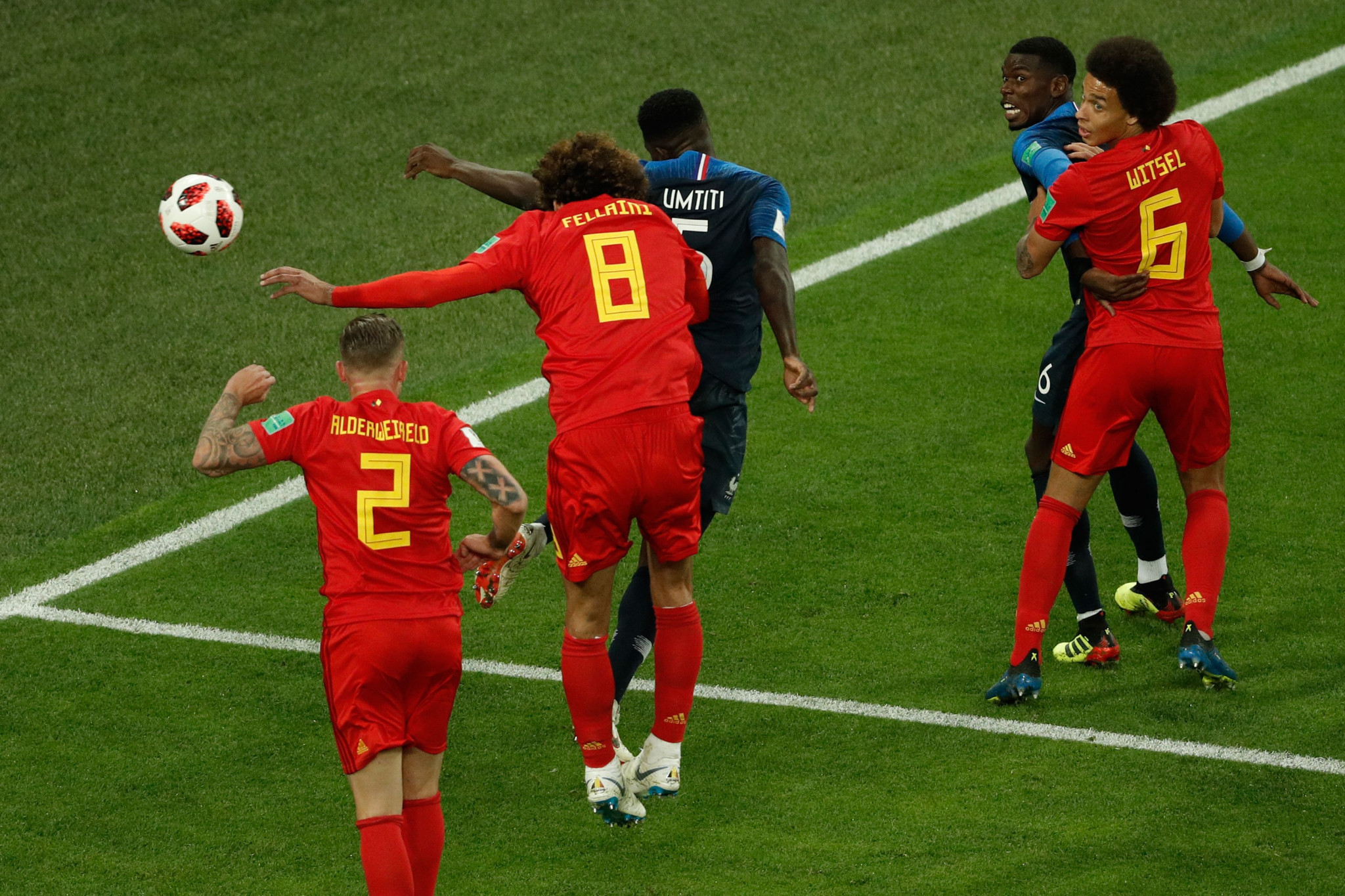 France's Samuel Umtiti rose highest to head home from a corner against Belgium ©Getty Images