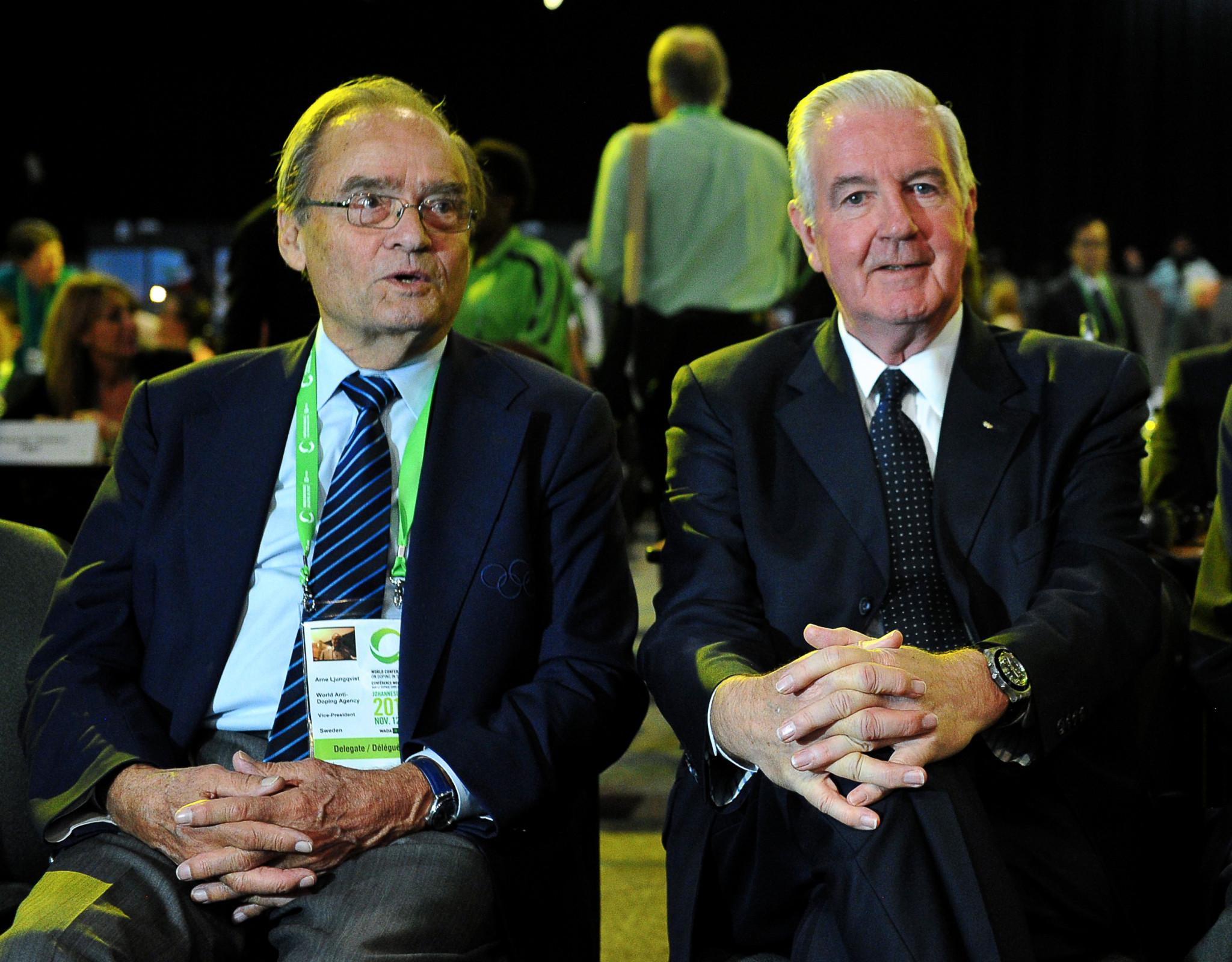 Arne Ljungqvist, left, alongside WADA President Sir Craig Reedie in 2013 ©Getty Images