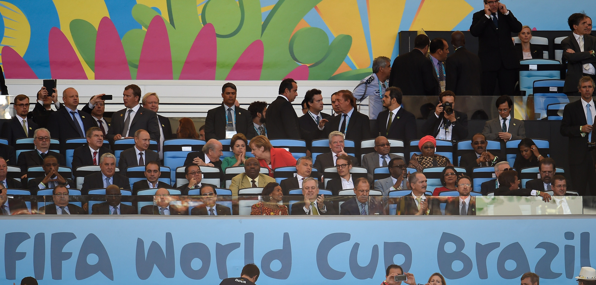 Thomas Bach, third row from top, second left, sat next to Vladimir Putin at the 2014 World Cup final in Brazil ©Getty Images