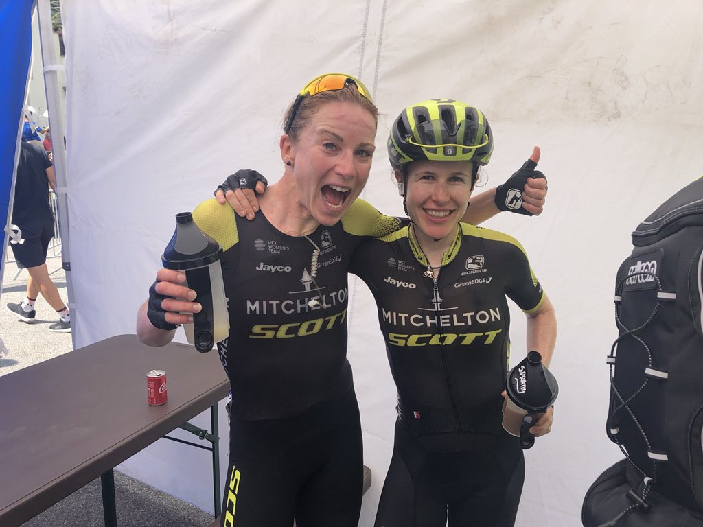 Australia's Amanda Spratt, right, beat Mitchelton-Scott team-mate Annemiek van Vleuten, left, to first place on stage six of the Giro Rosa ©Mitchelton-SCOTT/Twitter