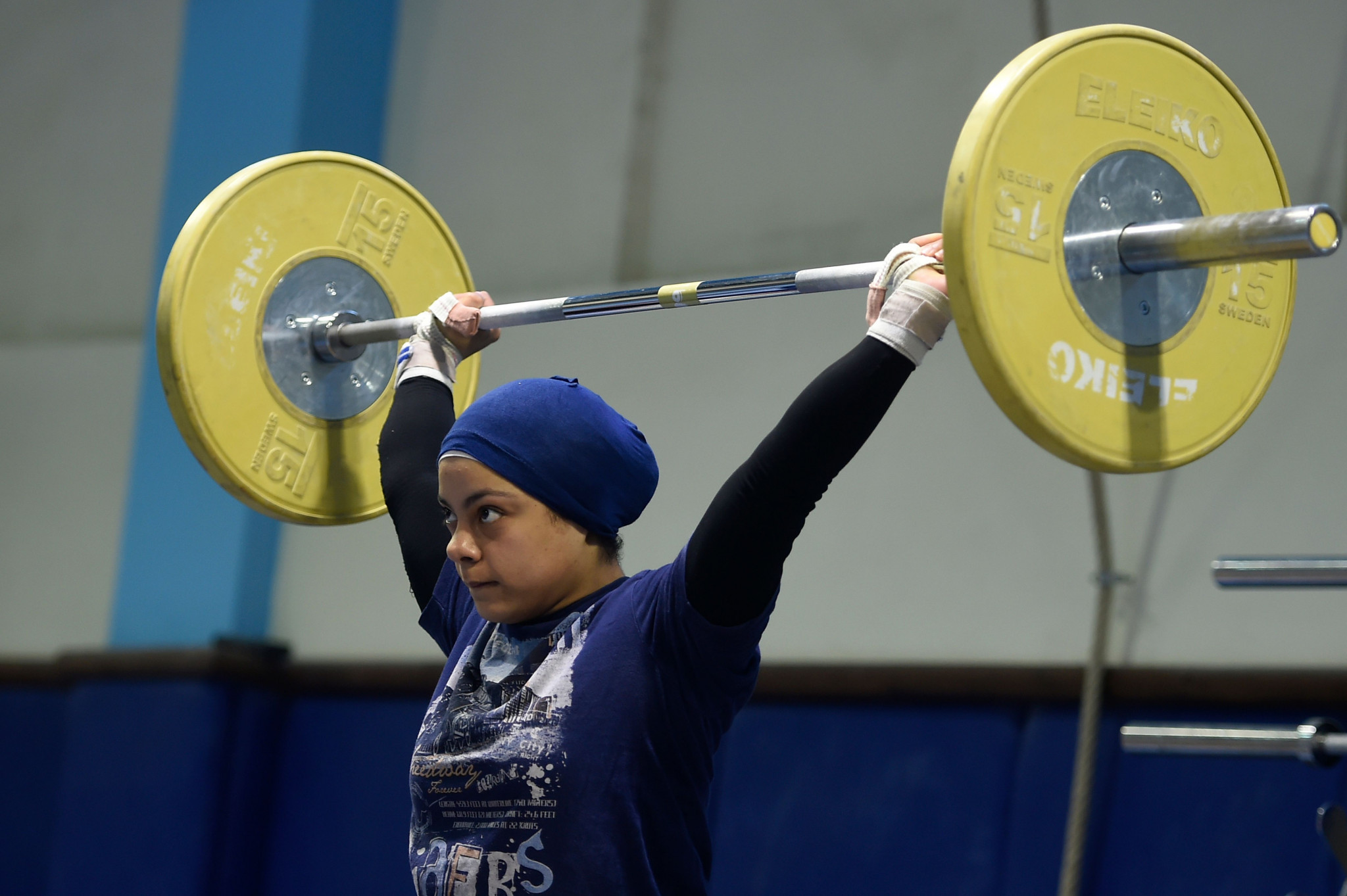 Egypt's Sara Ahmed claimed a clean sweep of the women's 69 kilograms gold medals at the 2018 IWF Junior World Championships in Tashkent ©Getty Images