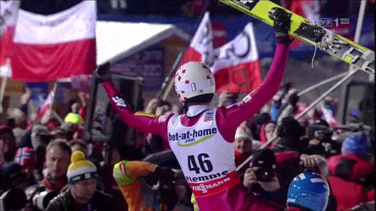 Poland's celebrates winning the gold medal on the large hill at the 2013 FIS Nordic World Championships in Val di Fiemme ©YouTube