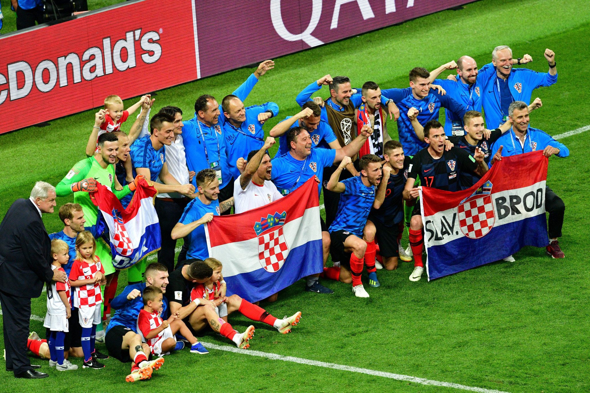 Croatia players pose after reaching the World Cup final ©Getty Images