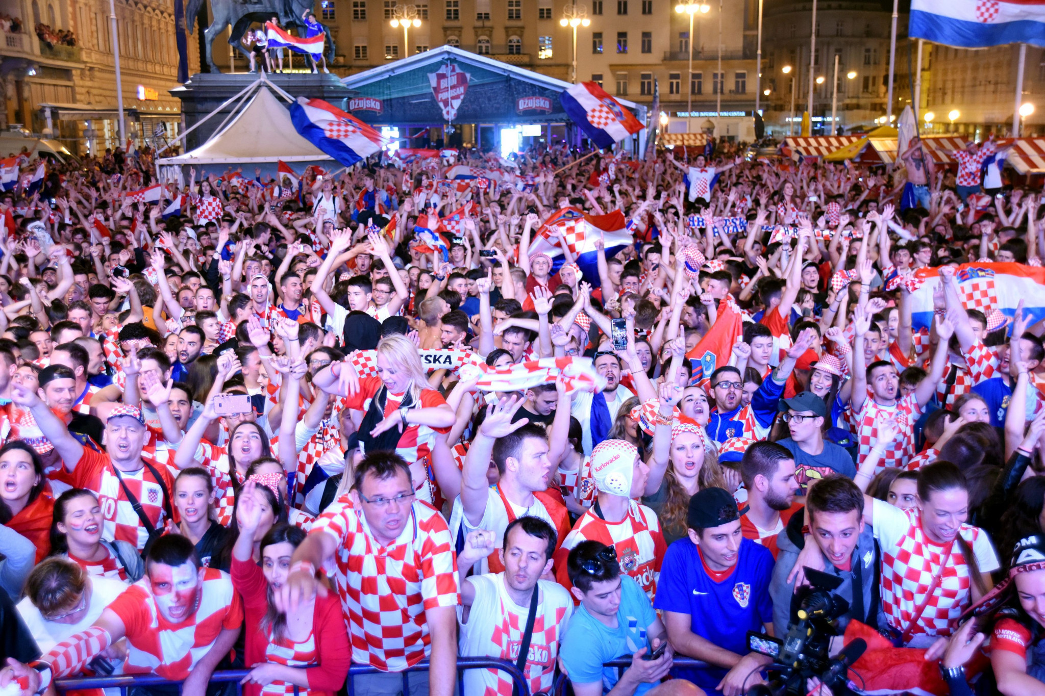 Croatia fans celebrate at a fansite in Zagreb ©Getty Images