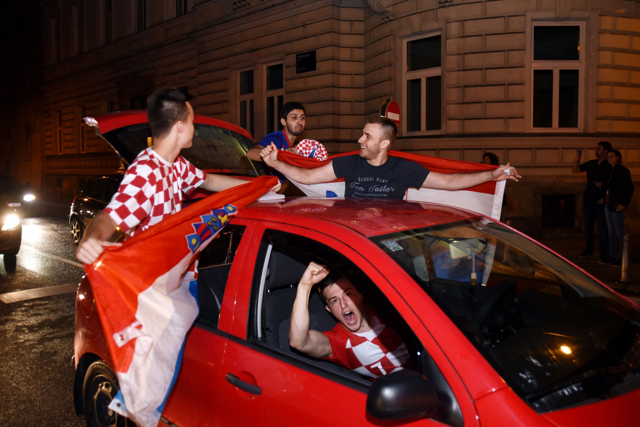 Cars stopped in Zagreb as Croatians celebrate reaching their first World Cup final ©Getty Images