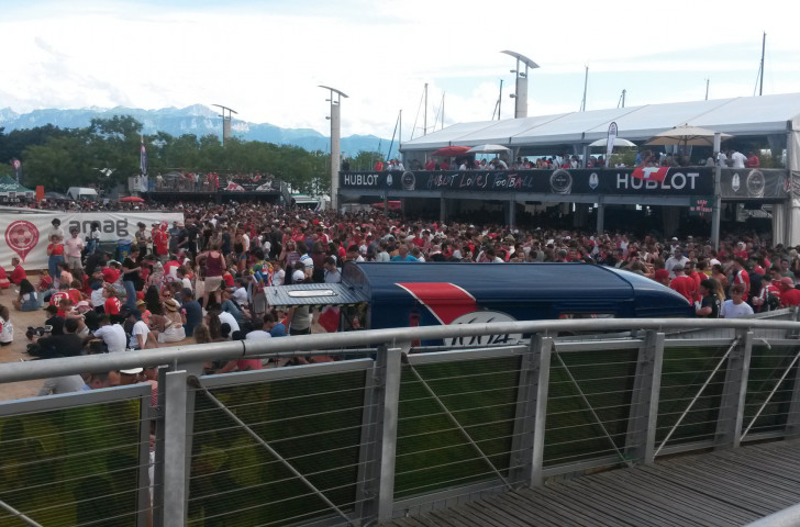 Swiss followers watch the World Cup round-of-16 match against Sweden at Lausanne's Fan Zone beside Lake Leman ©ITG