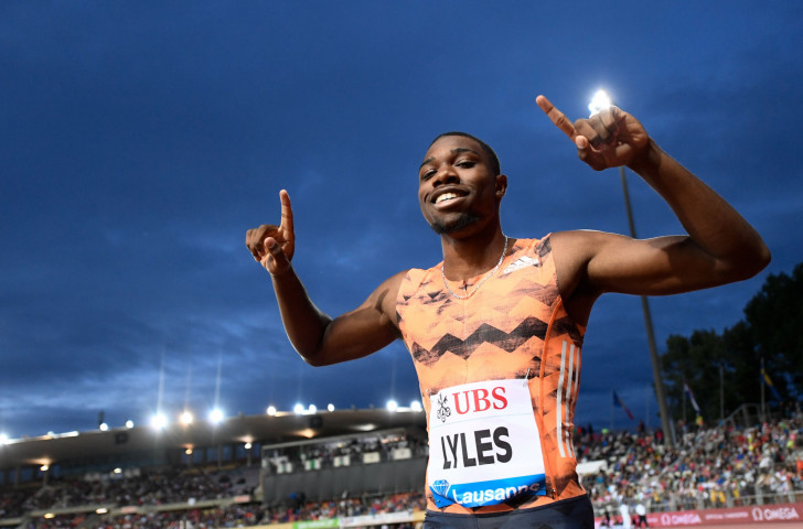 Noah Lyles, pictured celebrating his 200m win in 19.69sec at last week's IAAF Diamond League in Lausanne, will face US rivals Christian Coleman and Ronnie Baker in Rabat tomorrow ©Getty Images